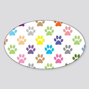 Colorful puppy paw print pattern Sticker