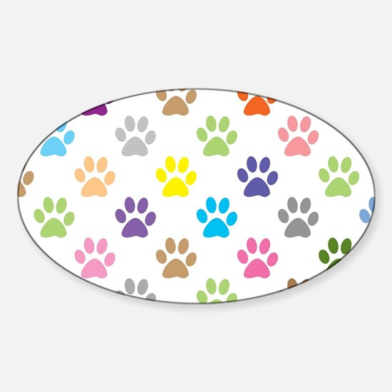 Colorful puppy paw print pattern Decal