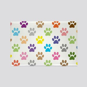 Colorful puppy paw print pattern Magnets