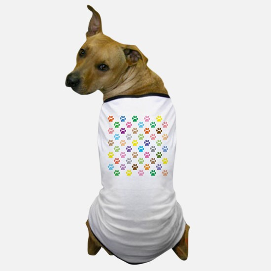 Colorful puppy paw print pattern Dog T-Shirt