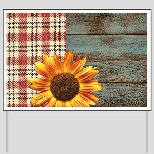 primitive country plaid burlap sunflower Yard Sign