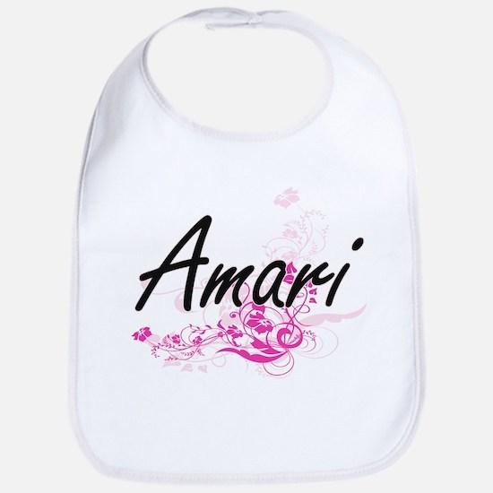 Amari Artistic Name Design with Flowers Bib