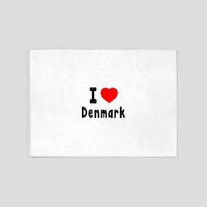 I Love Denmark 5'x7'Area Rug