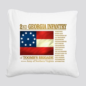 2nd Georgia Infantry Square Canvas Pillow