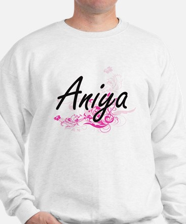 Aniya Artistic Name Design with Flowers Sweater