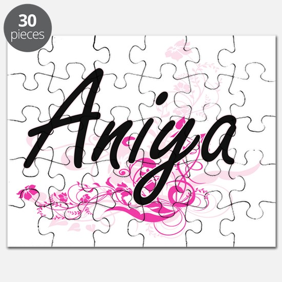 Aniya Artistic Name Design with Flowers Puzzle