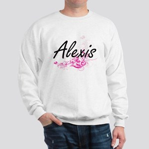 Alexis Artistic Name Design with Flower Sweatshirt