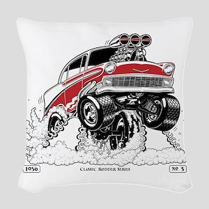 1956 Gasser wheelie-1 Woven Throw Pillow