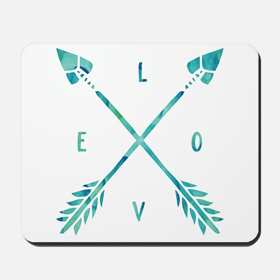 Turquoise Watercolor Love Arrows Mousepad