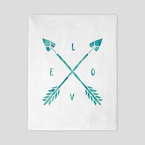 Turquoise Watercolor Love Arrows Twin Duvet