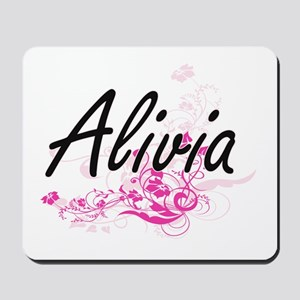 Alivia Artistic Name Design with Flowers Mousepad