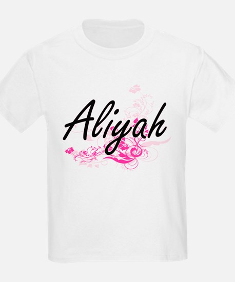 Aliyah Artistic Name Design with Flowers T-Shirt