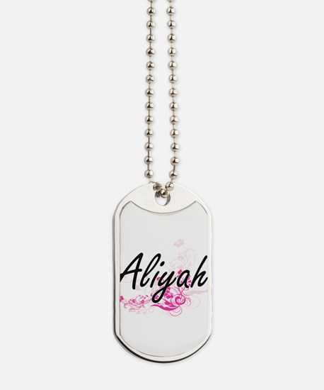 Aliyah Artistic Name Design with Flowers Dog Tags