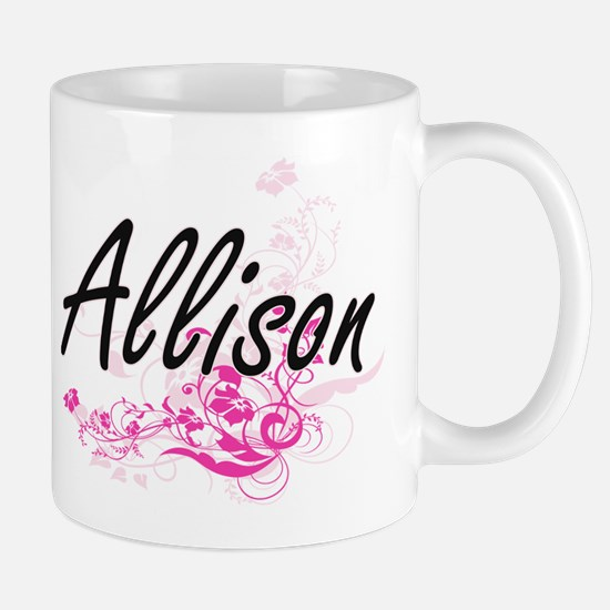 Allison Artistic Name Design with Flowers Mugs