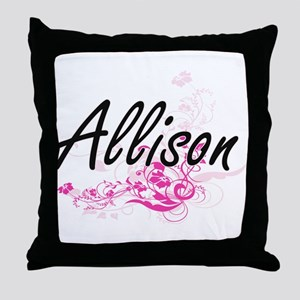 Allison Artistic Name Design with Flo Throw Pillow