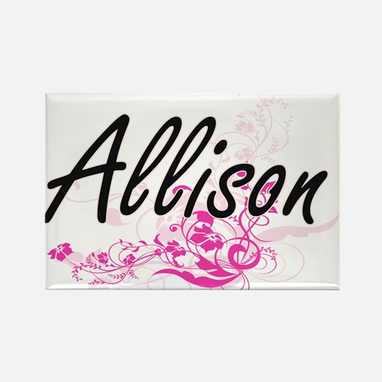 Allison Artistic Name Design with Flowers Magnets