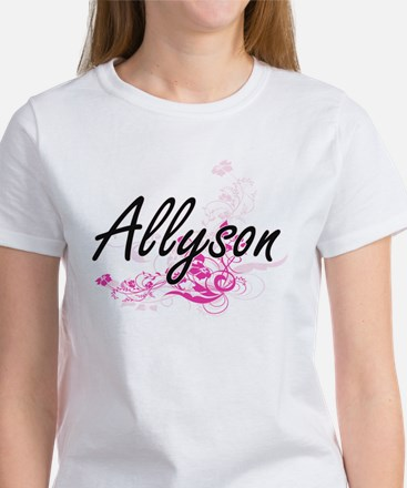 Allyson Artistic Name Design with Flowers T-Shirt