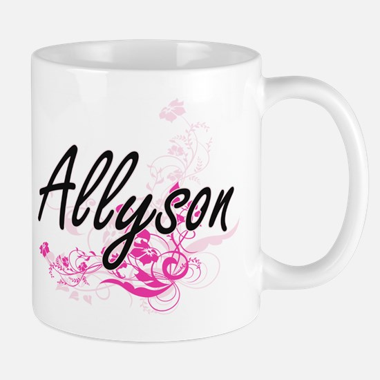 Allyson Artistic Name Design with Flowers Mugs