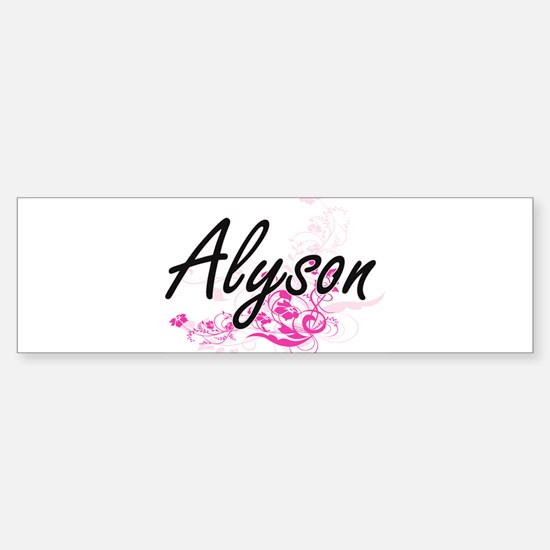 Alyson Artistic Name Design with Fl Bumper Bumper Bumper Sticker