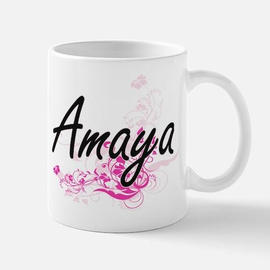 Amaya Artistic Name Design with Flowers Mugs