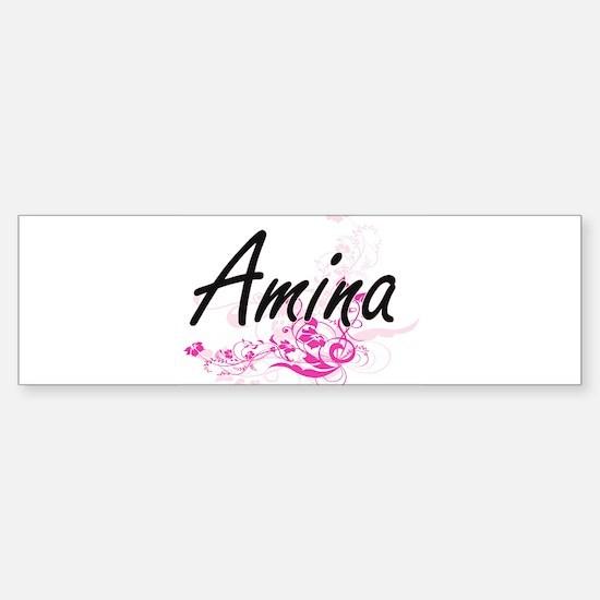 Amina Artistic Name Design with Flo Bumper Bumper Bumper Sticker