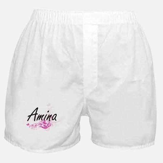Amina Artistic Name Design with Flowe Boxer Shorts