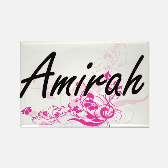 Amirah Artistic Name Design with Flowers Magnets