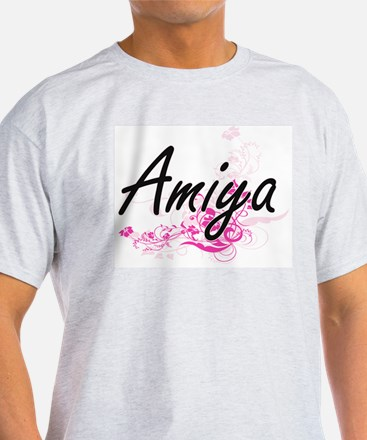 Amiya Artistic Name Design with Flowers T-Shirt