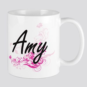 Amy Artistic Name Design with Flowers Mugs