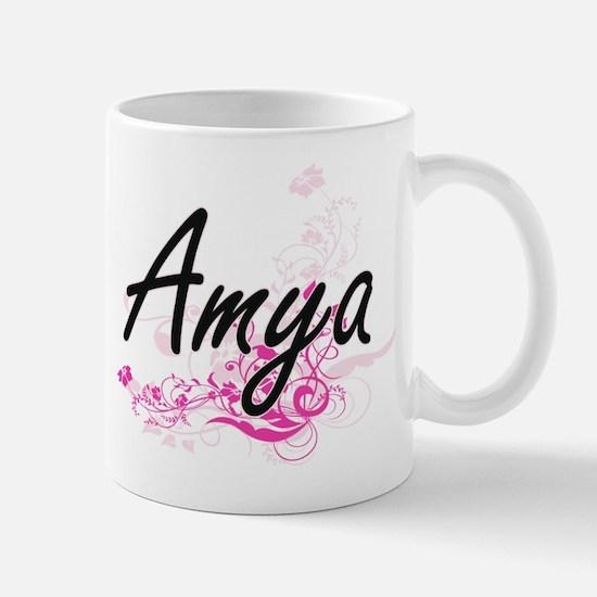 Amya Artistic Name Design with Flowers Mugs