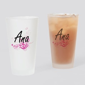 Ana Artistic Name Design with Flowe Drinking Glass