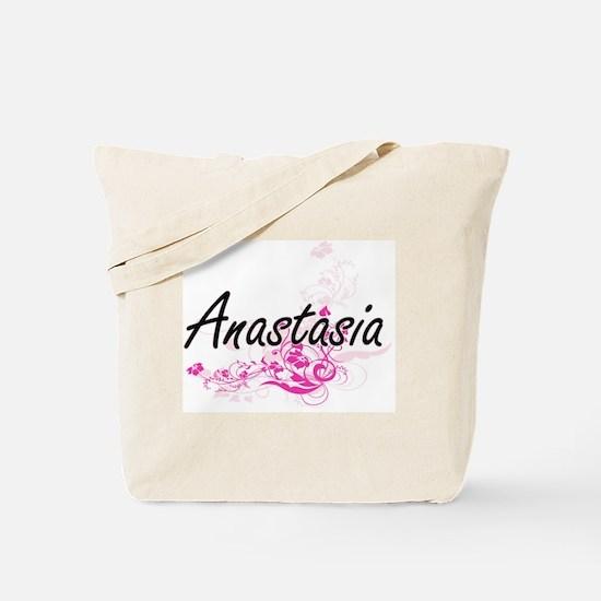 Anastasia Artistic Name Design with Flowe Tote Bag