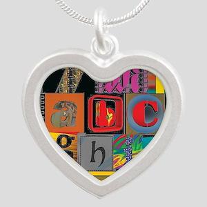 ABCDEFG Silver Heart Necklace