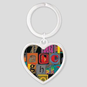 ABCDEFG Heart Keychain