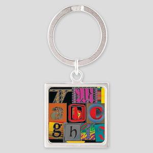 ABCDEFG Square Keychain