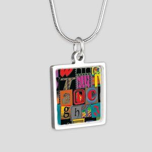 ABCDEFG Silver Square Necklace