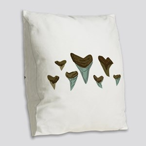 Shark Teeth Burlap Throw Pillow