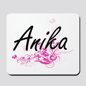 Anika Artistic Name Design with Flowers Mousepad