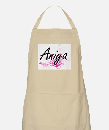 Aniya Artistic Name Design with Flowers Apron