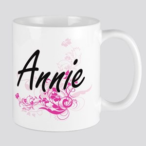 Annie Artistic Name Design with Flowers Mugs