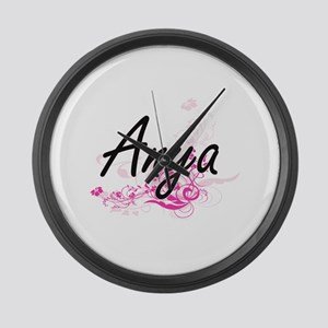 Anya Artistic Name Design with Fl Large Wall Clock