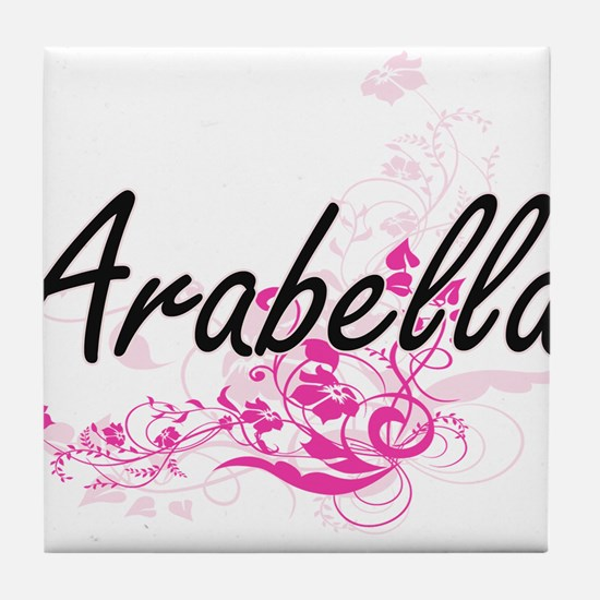 Arabella Artistic Name Design with Fl Tile Coaster
