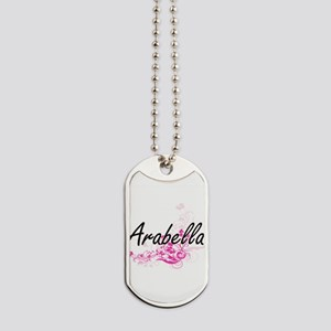 Arabella Artistic Name Design with Flower Dog Tags