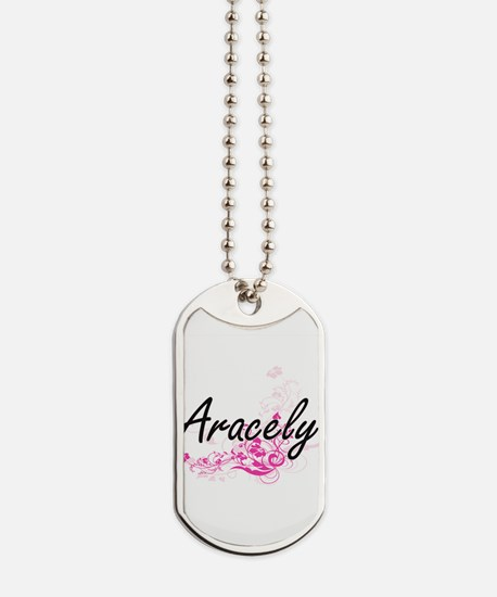 Aracely Artistic Name Design with Flowers Dog Tags