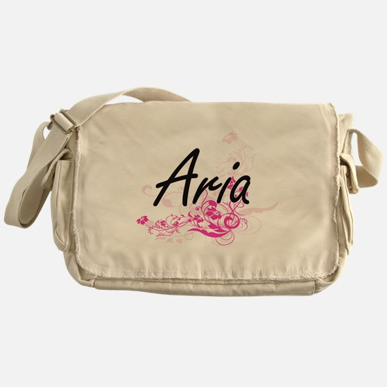 Aria Artistic Name Design with Flowe Messenger Bag