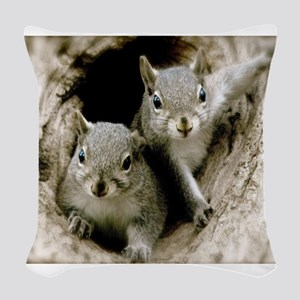 Baby Squirrels Woven Throw Pillow