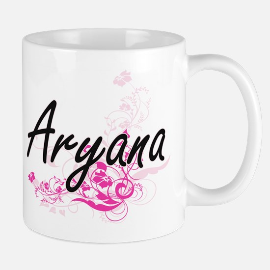 Aryana Artistic Name Design with Flowers Mugs