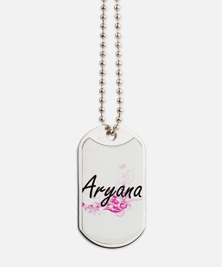 Aryana Artistic Name Design with Flowers Dog Tags