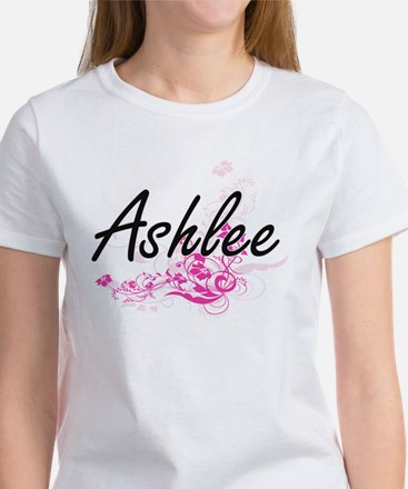 Ashlee Artistic Name Design with Flowers T-Shirt