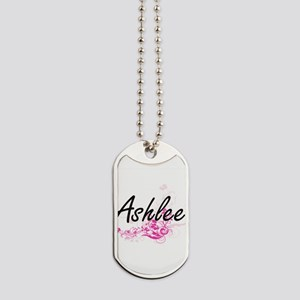 Ashlee Artistic Name Design with Flowers Dog Tags